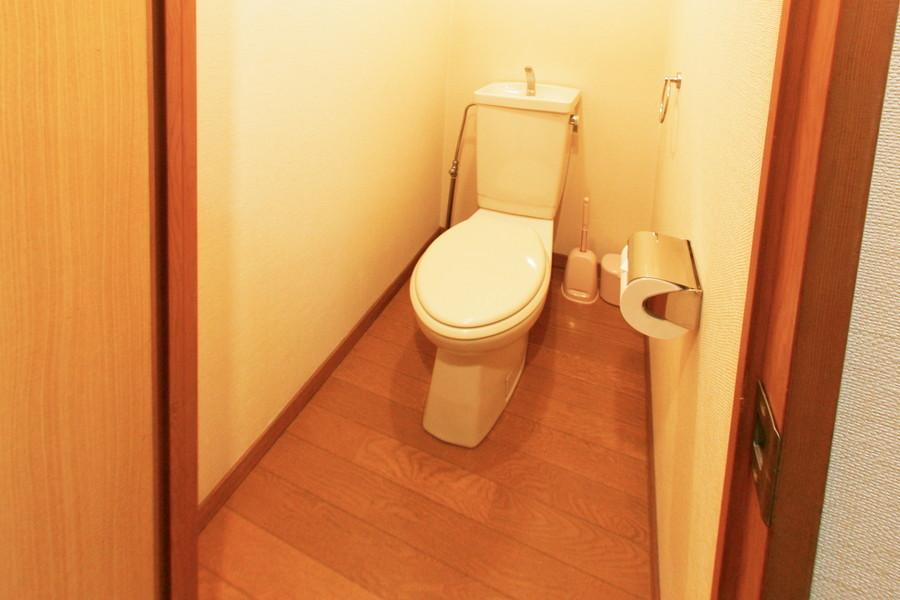 木目の床があたたかな印象を与えてくれるお手洗い