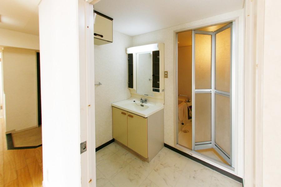 大きな鏡と小物収納が魅力的な独立洗面台