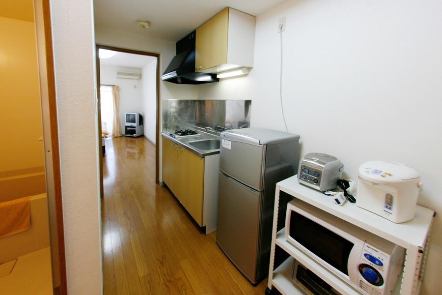 冷蔵庫やポットはもちろん電子レンジやトースターなどもご用意しています