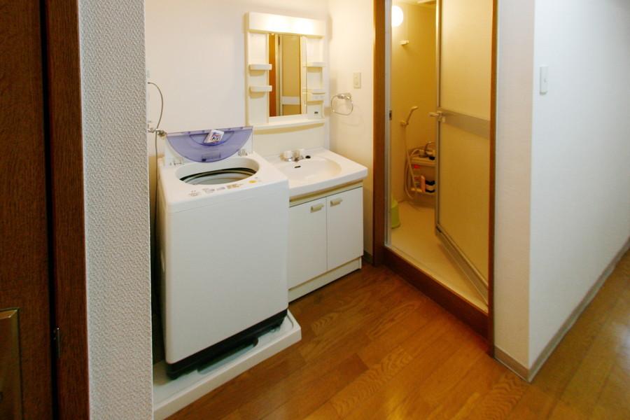 大きめの鏡が嬉しい洗面台。小物置き場もポイントです