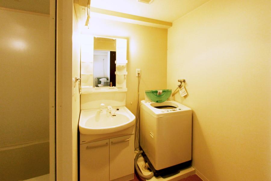 大きな鏡が特徴の洗面台。女性に嬉しいシャンプードレッサータイプです