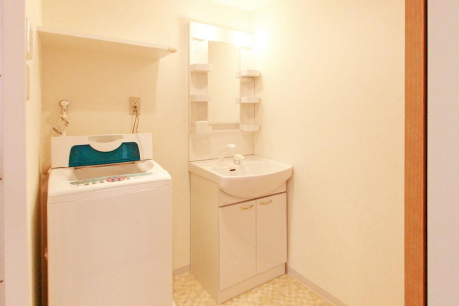 シャワー付き洗面台は大きな鏡がポイント。毎日の身だしなみチェックに!