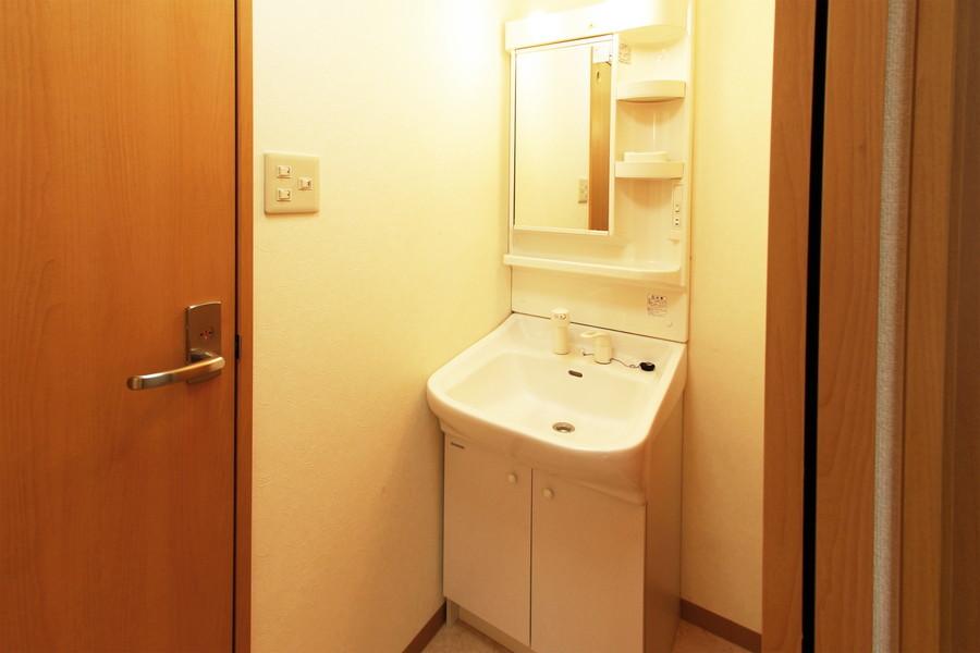 収納スペースもしっかり確保された洗面台。シャンプードレッサータイプです