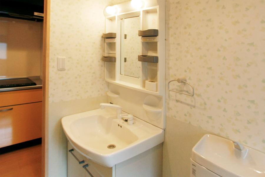 小物収納のスペースもばっちりの洗面台