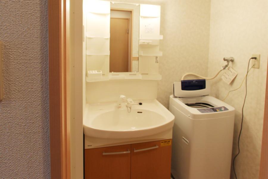 木目の扉がポイントの洗面台。シャンプードレッサータイプです