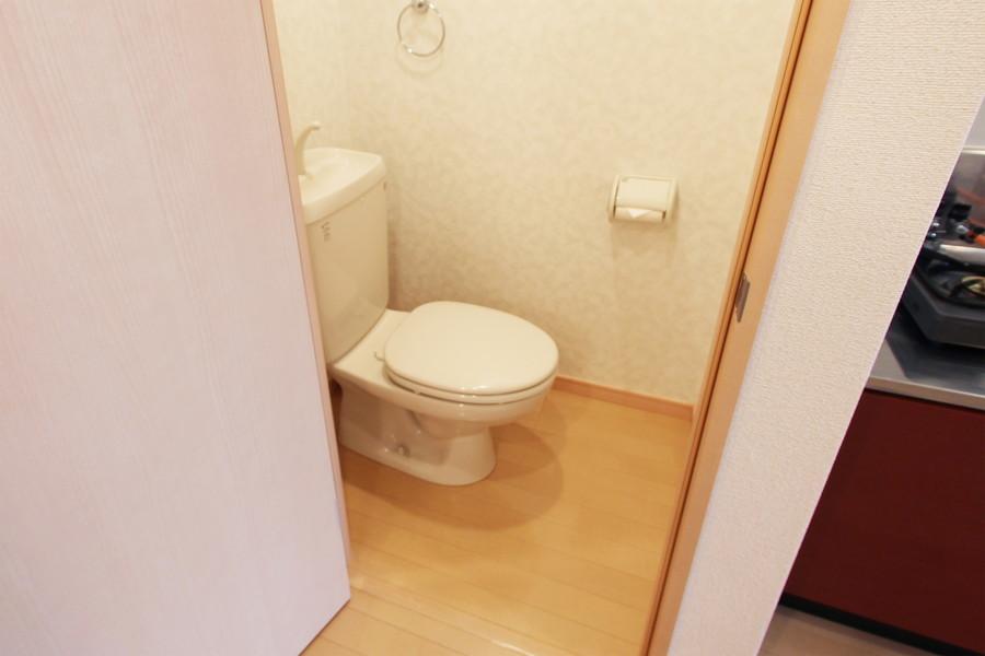 木目の床がやわらかな印象を与えてくれるお手洗い