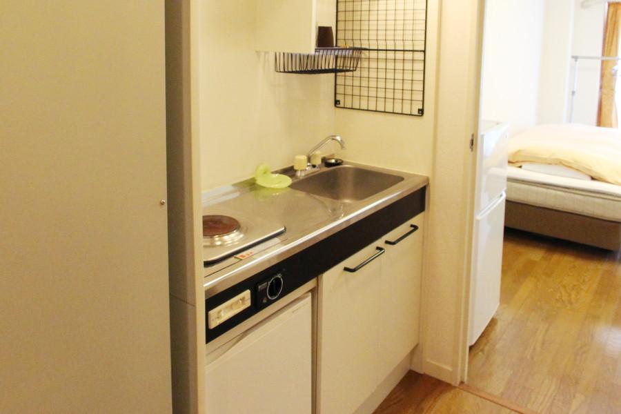 コンパクトにまとめられたキッチンは使い勝手バツグンです
