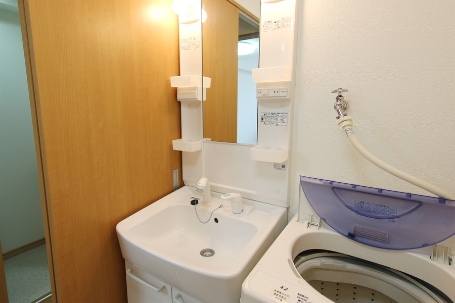 収納スペース完備の洗面台は人気のシャンプードレッサータイプ