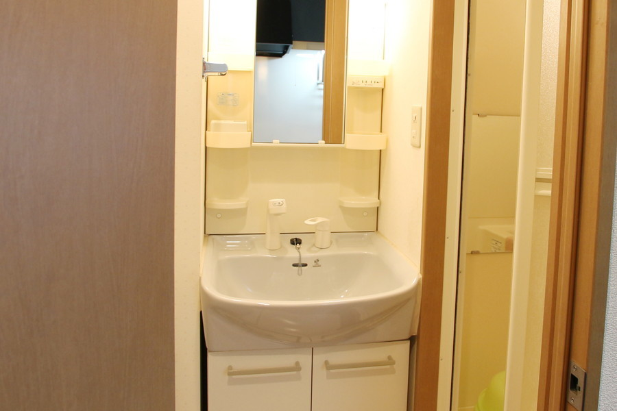 シャンプードレッサー設置の洗面台。小物置き場も充実しています