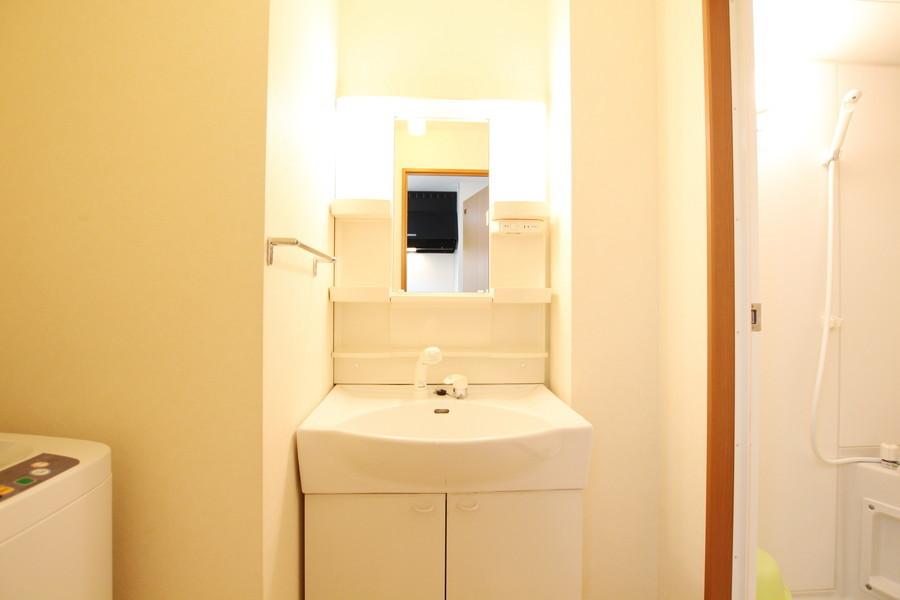 洗面台はシャンプードレッサータイプ。毎朝の身だしなみにご活用ください