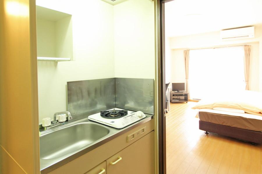 キッチンは広めのシンクがポイント。使いやすい1口ガスコンロ