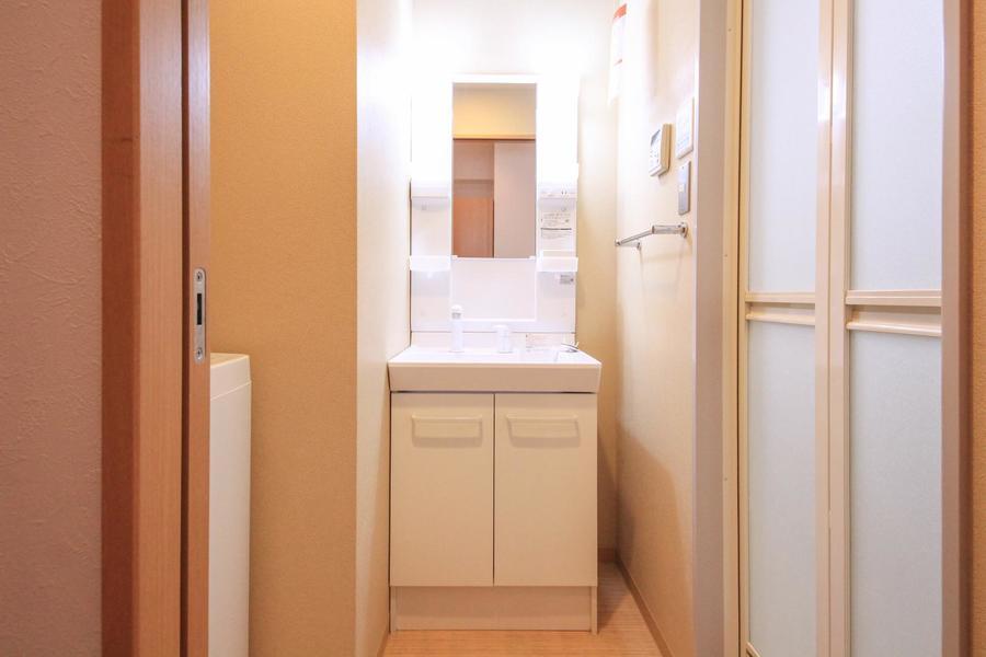 洗面台はシャンプードレッサータイプ。小物棚も多めです