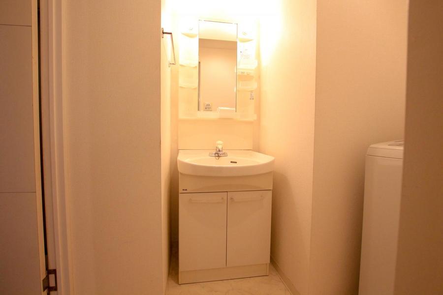 独立タイプの洗面台は収納棚も多く実用性ばっちり