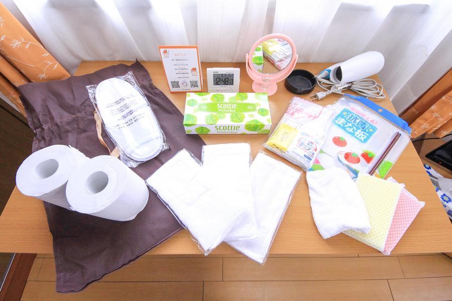 ティッシュやゴミ袋など日用品をアメニティとしてご用意しています