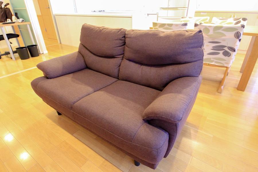 ソファは二人がけタイプ。並んではもちろん、ひとりでゆったり使用もできます