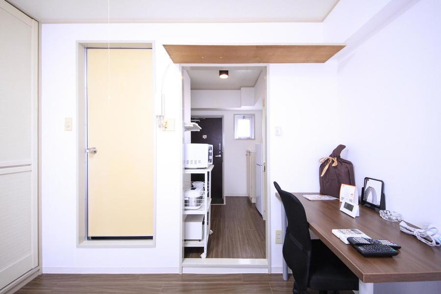 間仕切りの扉がないため玄関からお部屋まですっきり見通せます