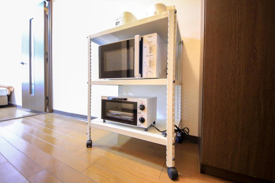 電子レンジ、炊飯器などキッチン家電は使いやすく1箇所に集約