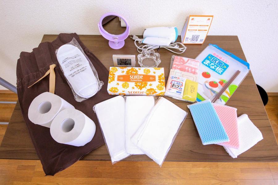 ティッシュやタオルなど日頃お使いいただける日用品もご準備してます