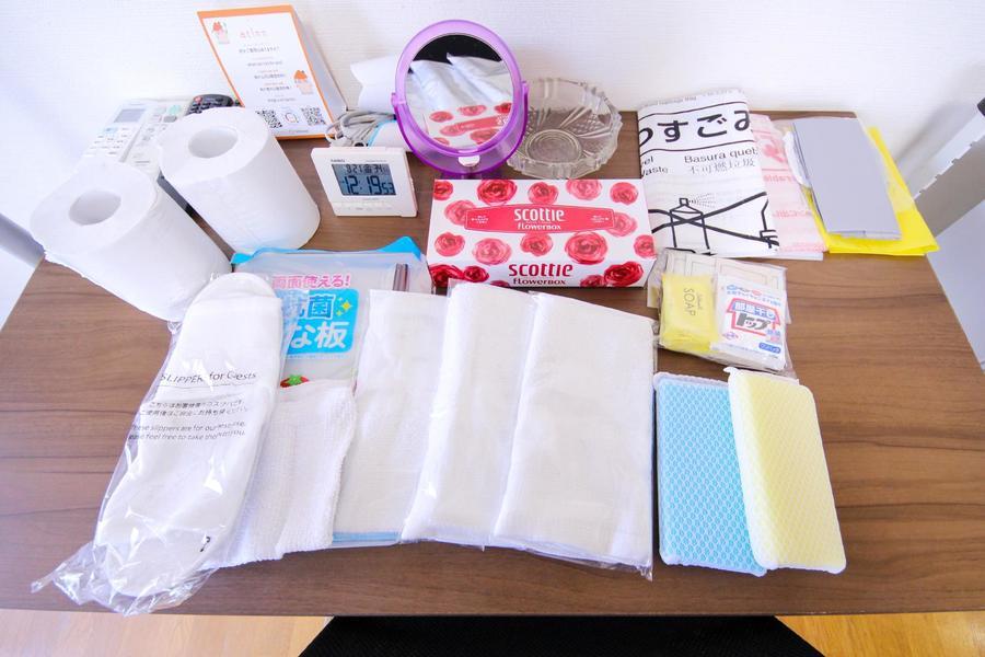 タオル、洗剤などの日用品やゴミ袋などをアメニティとしてご用意しています