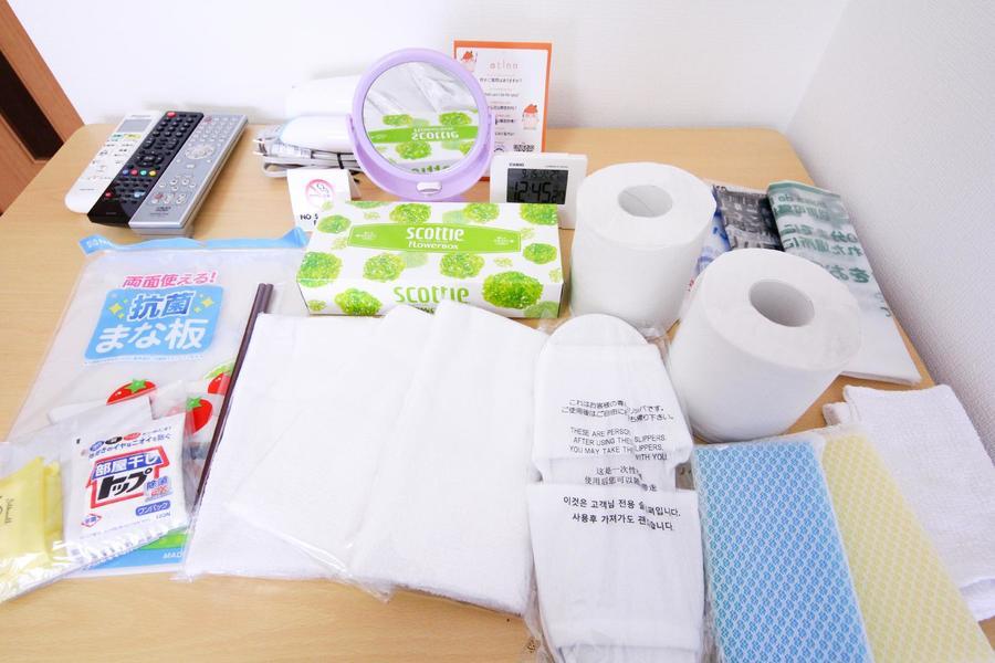 トイレットペーパー、タオルなど日用品をアメニティとしてご用意しています