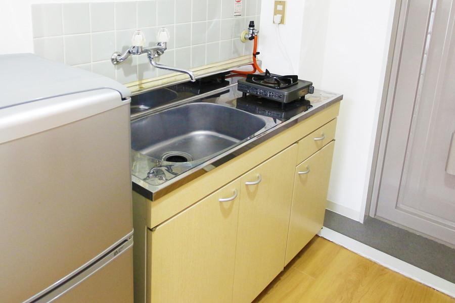 シンクは広めで洗い物もしっかりできます