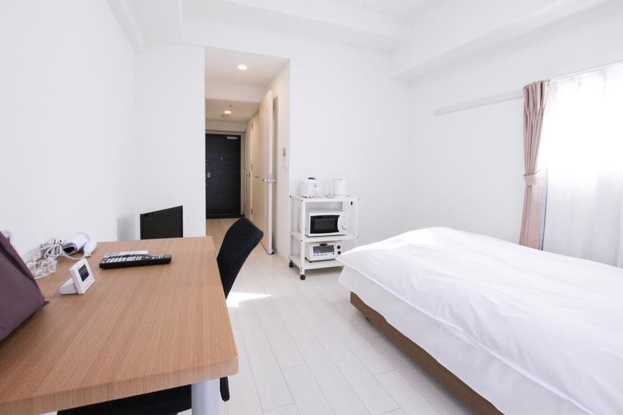 お部屋はゆとりの8畳タイプ。廊下部にクローゼットもあり収納面もバッチリです