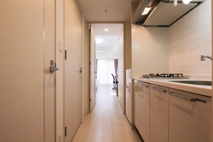 廊下周辺もお部屋と同じく淡い色合いで統一されています