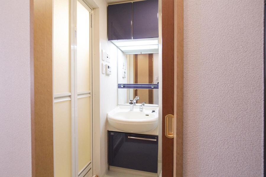 大きな鏡が特徴の洗面台。嬉しいシャンプドレッサー完備です
