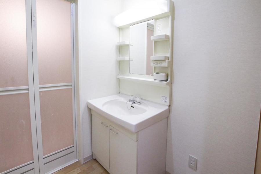 独立タイプの洗面台。小物収納スペースも充実しています