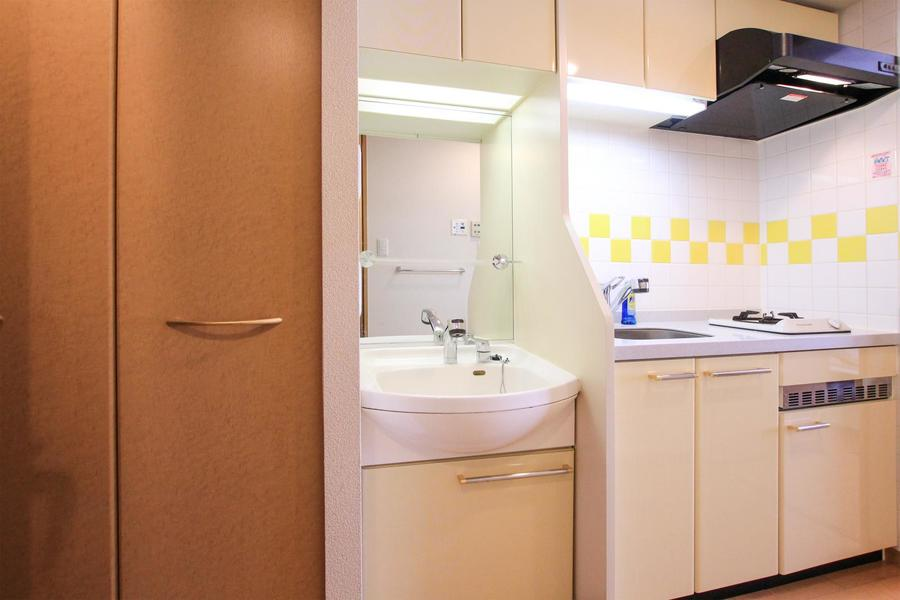 独立洗面台は大きな鏡が特徴。シャンプードレッサータイプです