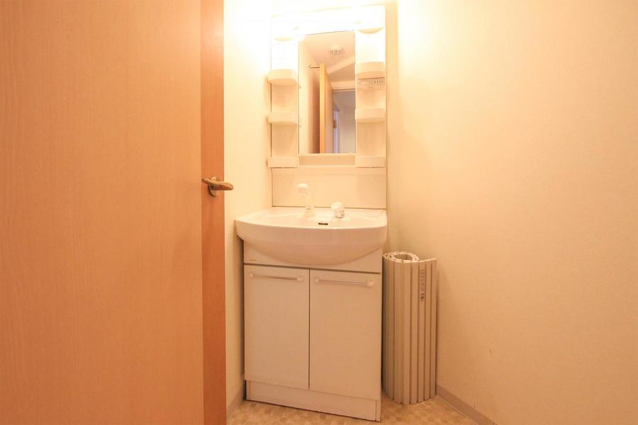 洗面台は大きな鏡が特徴。人気のシャンプードレッサータイプ