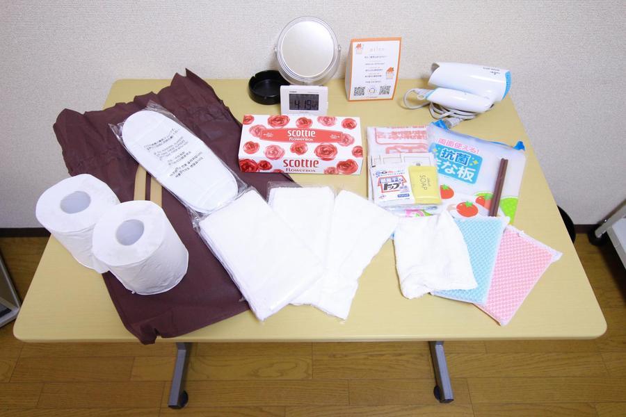 ティッシュ、洗剤、ゴミ袋などの日用品をアメニティとしてご用意しております