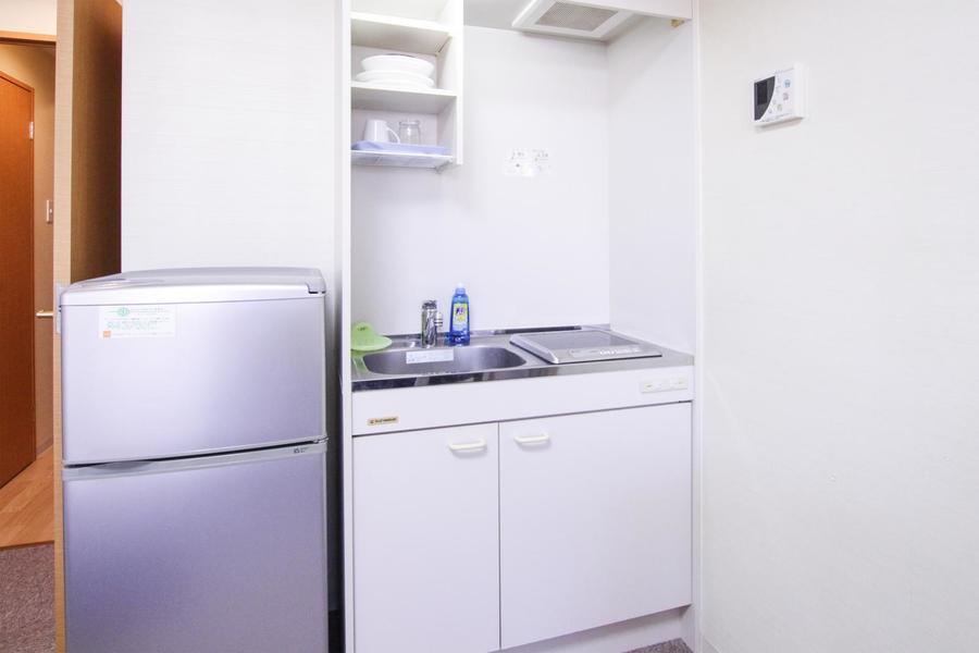 キッチンは室内に設置。便利なIHコンロです
