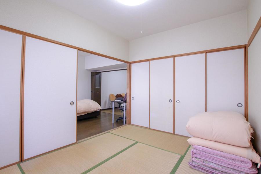 日本の心を感じさせる和室。お布団をご用意しています